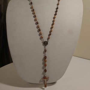 Caramel colored Wooden Bead Jerusalem Rosary